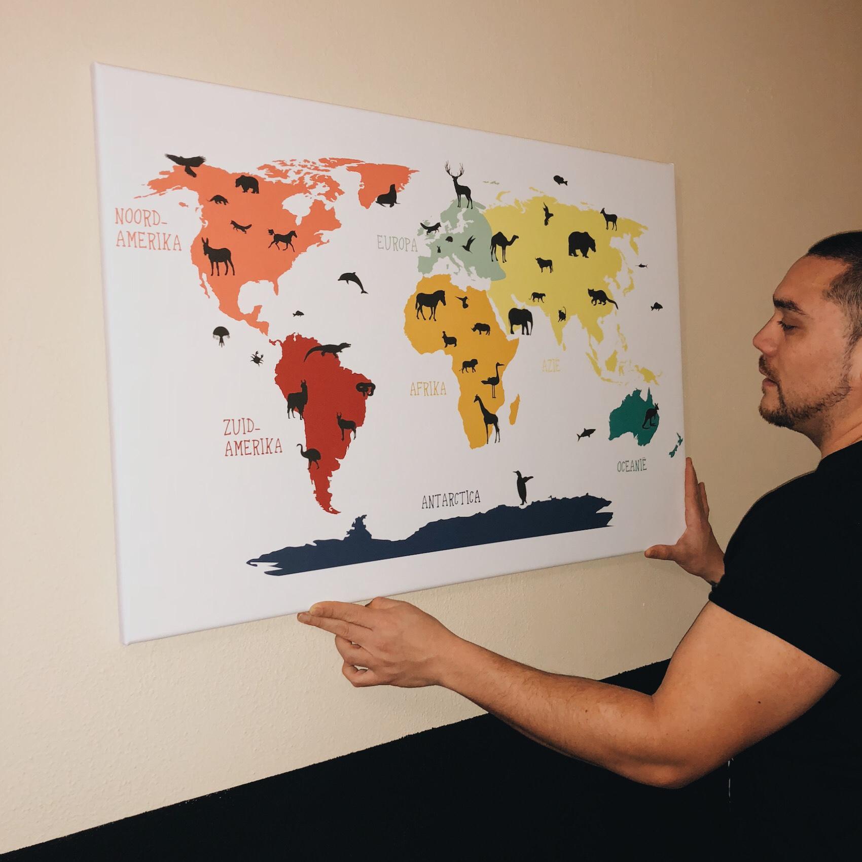 wereldkaart kinderkamer ophangen